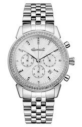 Ingersoll Watches Women's Crystal Accent Chronograph Bracelet Watch 35Mm Silver
