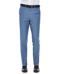 Brioni Flat Front Solid Wool Trousers Cadet Blue