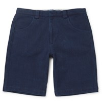 Blue Blue Japan Sashiko Stitched Cotton Shorts Indigo