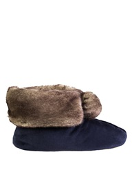 Isotoner Signature Holiday Faux Fur Memory Foam Bootie Slippers Navy Blue