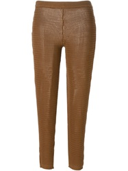 Christian Dior Vintage Perforated Knit Trousers Brown