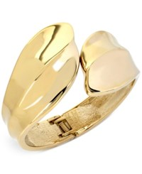 Touch Of Silver Bypass Bangle Bracelet In 14K Gold Plating