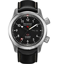 Bremont Mbii Bk Stainless Steel And Leather Watch