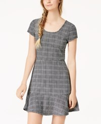 Planet Gold Juniors' Printed Fit And Flare Dress Charcoal