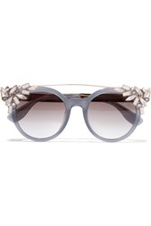 Jimmy Choo Vivy Embellished Round Frame Acetate And Gold Tone Sunglasses Gray