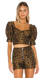 For Love And Lemons Jett Bustier Top In Brown. Leopard