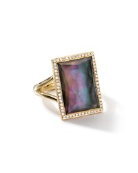 18K Gold Gelato Medium Black Shell Baguette Ring With Diamonds Ippolita