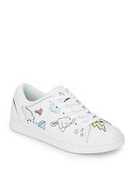 Eleven Paris Mixed Print Leather Lace Up Sneakers White Multi