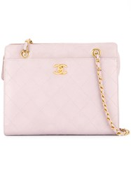 Chanel Vintage Turn Lock Square Tote Bag Pink And Purple
