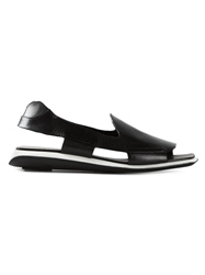 Premiata Cut Out Flat Sandals Black