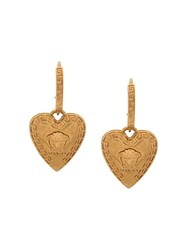 Versace Heart Shaped Medusa Motif Earrings Gold