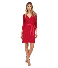 Adrianna Papell Long Sleeve Wrap Front Lace Cocktail Dress Radish Women's Dress Burgundy