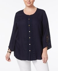 Jm Collection Plus Size Lace Trim Tunic Created For Macy's Imperial Navy