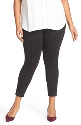 Sejour Plus Size Women's Seam Detail Crop Ponte Leggings