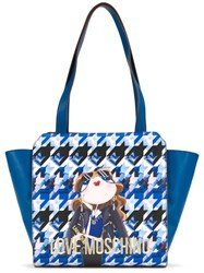 Love Moschino Houndstooth Logo Print Shoulder Bag Blue