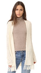 Bb Dakota Murray Fringe Cardigan Ivory