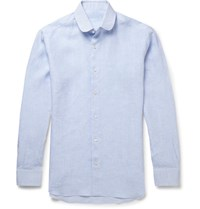 Caruso Penny Collar Linen Shirt Blue