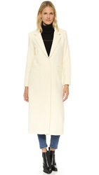 Mason By Michelle Mason Single Breasted Maxi Coat Ivory