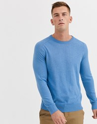 Ben Sherman Core Cotton Knitted Crew Neck Jumper Blue