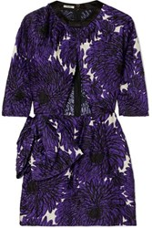 Miu Miu Cutout Printed Crinkled Satin Mini Dress Purple