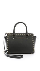 Michael Michael Kors Selma Stud Medium Top Zip Satchel Black