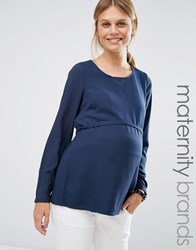 Mama Licious Mamalicious Woven Top With Wrap Back Navy
