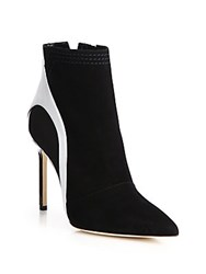 Manolo Blahnik Suede Leather And Patent Leather Booties Black