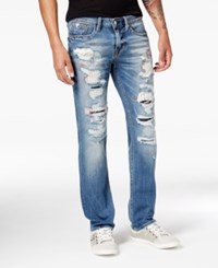 Guess Men's Vermont Slim Straight Fit Stretch Destroyed Jeans Blue