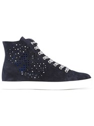 Hogan Perforated Hi Top Sneakers Women Leather Rubber 36.5 Blue
