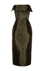 Alex Perry Colton Lurex Strapless Cuff Lady Dress Green