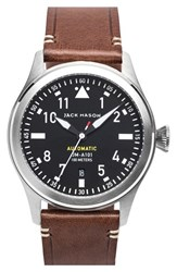 Men's Jack Mason Brand 'Aviation' Automatic Leather Strap Watch 42Mm