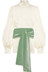 Hillier Bartley Silk Satin And Velvet Turtleneck Top Cream