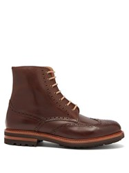Brunello Cucinelli Leather Brogue Boots Brown