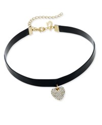 Thalia Sodi Faux Leather And Crystal Heart Choker Necklace Only At Macy's Black