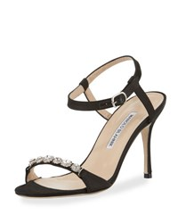 Manolo Blahnik Priscaba Jeweled Satin Sandal Black