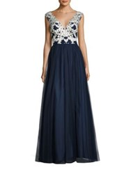 Aidan Mattox Embroidered Tulle Gown Ivory Twilight