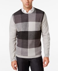 Ryan Seacrest Distinction Men's Plaid Front Sweater Concrete Heather