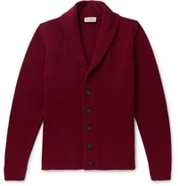 John Smedley Patterson Shawl Collar Wool And Cashmere Blend Cardigan Burgundy