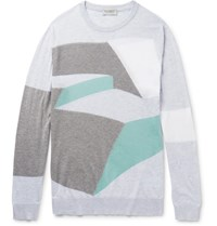 John Smedley Intarsia Sea Island Cotton Sweater Gray
