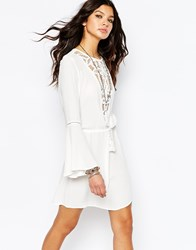 Wyldr Lace Insert Tunic Dress With Drawcord Waist Cream