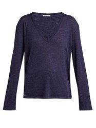 Frances De Lourdes Louise Cashmere And Silk Long Sleeve T Shirt Navy