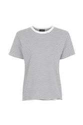 Topshop Petite Stripe Nibble T Shirt Navy Blue