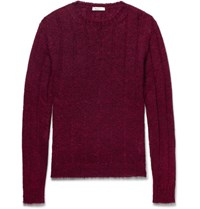 Valentino Cable Knit Mohair Blend Sweater Burgundy