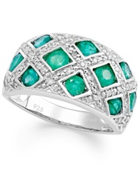 Macy's Sterling Silver Ring Emerald 1 1 2 Ct. T.W. And Diamond 1 6 Ct. T.W. Woven Band