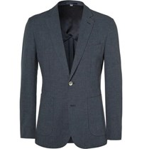 Hardy Amies Navy Slim Fit Cotton Blend Blazer Navy