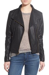 Women's Marc New York By Andrew Marc 'Felix' Stand Collar Leather Jacket Black