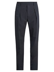 Christophe Lemaire Pleated Straight Leg Wool Blend Trousers Navy