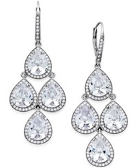 Macy's Cubic Zirconia Pear Cut Chandelier Earrings In Sterling Silver