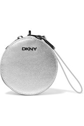 Dkny Metallic Leather Pouch Silver