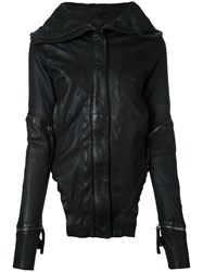 Barbara I Gongini Broad Lapels Leather Jacket Women Cotton Lamb Skin 36 Black